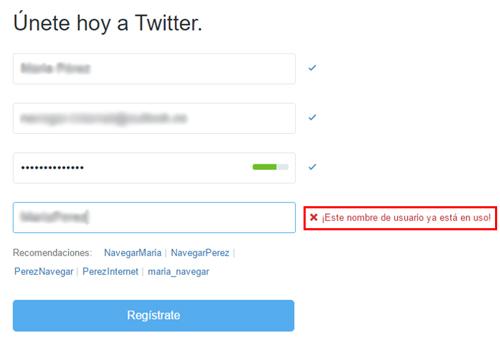 Página de registro de Twitter