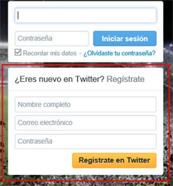 Formulario de registro de Twitter