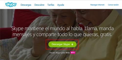 Botón de descarga en la web de Skype