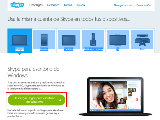 Botçon de descarga de Skype para escritorio