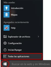 Menú inicio de Windows