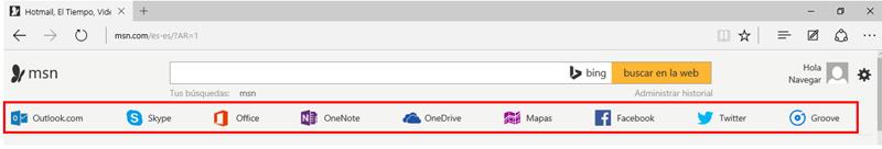 Barra de aplicaciones del portal MSN