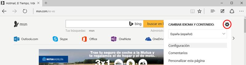 Botón de Configuración del portal MSN