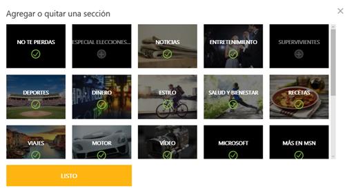 Ventana para agregar o quitar secciones del portal MSN