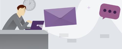 dibujo de un hombre frente a portátil y sobre de carta flotando