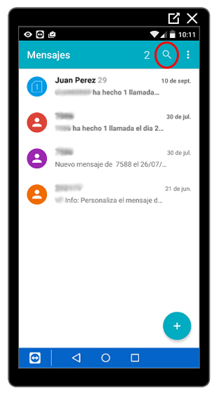 Buscador de la aplicación Mensajes