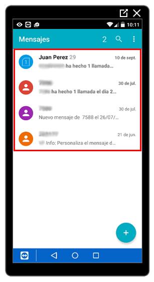 Listado de mensajes