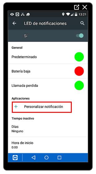 Opción Personalizar notificaciones