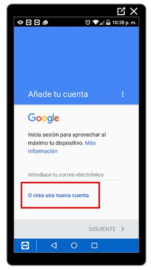Enlace para crear cuenta de Google