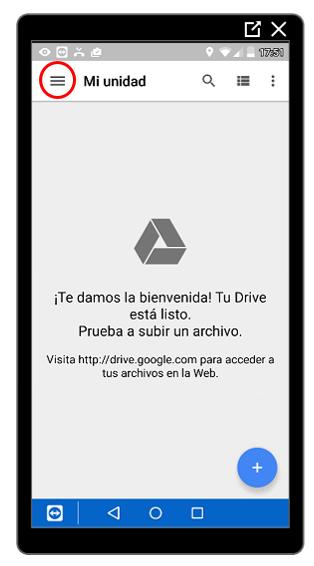Botón de menú de Google Drive