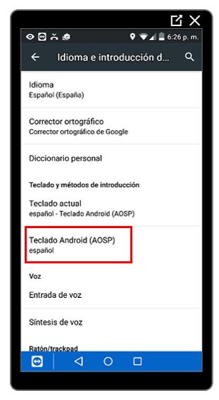 Opción Teclado de Android