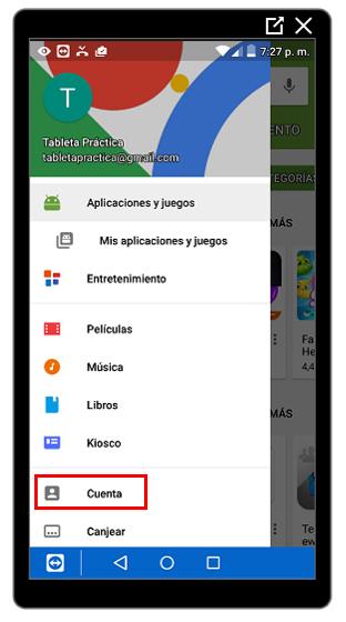 Opción Cuenta en Google Play