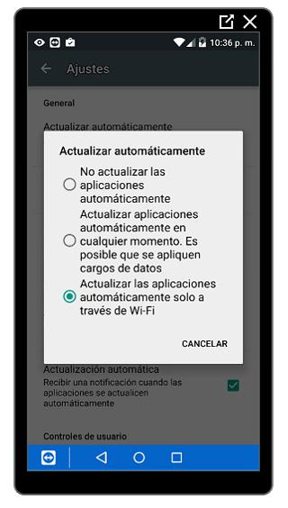 Opciones de actualización