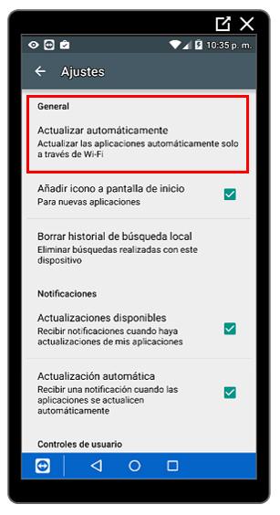 Opción Actualizar automáticamenteOpción Actualizar automáticamente