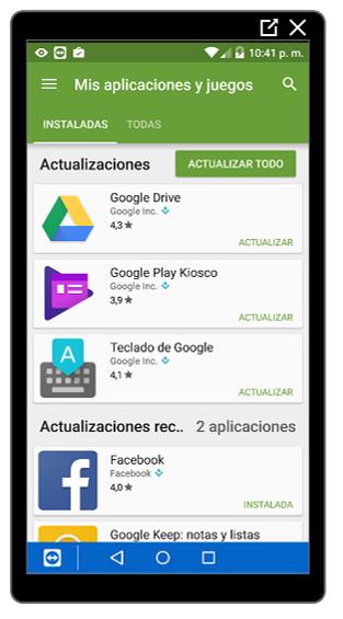 Listado de aplicaciones