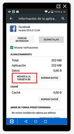 Botón para mover aplicaciones a a SD
