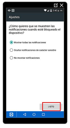 Opciones para mostrar u ocultar notificaciones en la pantalla de bloqueo