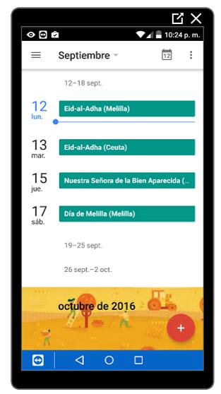 Vista Agenda en el calendario