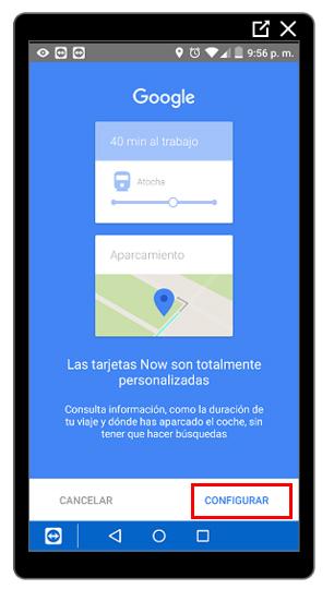 Botón de configuración de Google Now