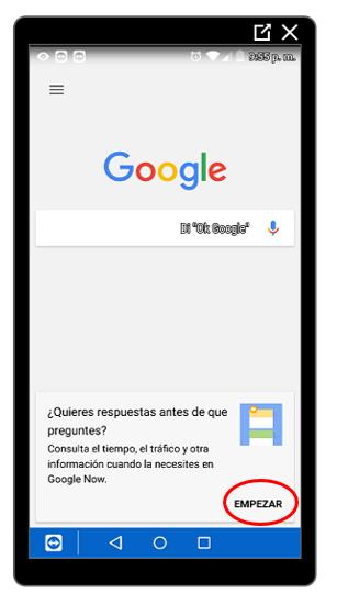 Botón para iniciar la activación de Google Now