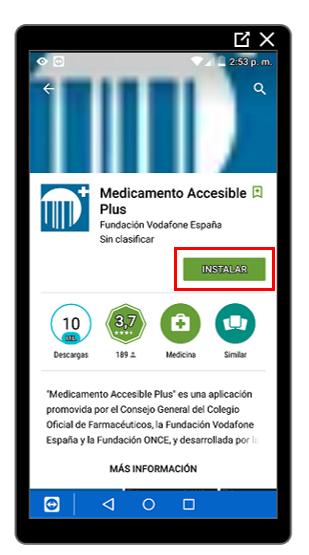Botón Instalar de Medicamento Accesible Plus